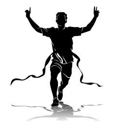 silhouette running winner vector image