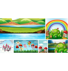 six different scene fantasy world with fantasy vector image