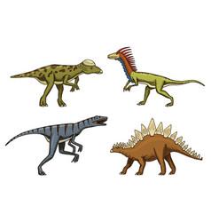 Small dinosaurs deinonychus stegosaurus vector