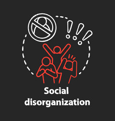 Social disorganization chalk concept icon vector