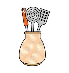 Spoons cutlery in pot vector