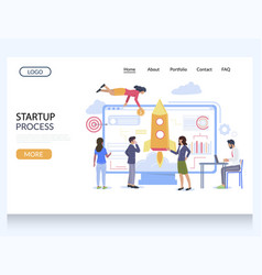 startup process website landing page design vector image