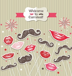 Stickers collection of mustaches and lips vector image