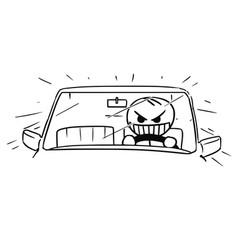Stickman cartoon of mad car driver vector