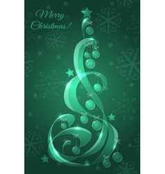 Stylized glass Christmas tree with Christmas balls vector image