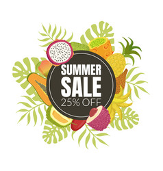 summer sale banner template with sweet fresh ripe vector image