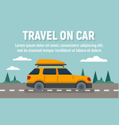 Summer travel on car concept banner flat style vector
