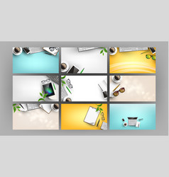 supplies on office work desk set flat lay vector image