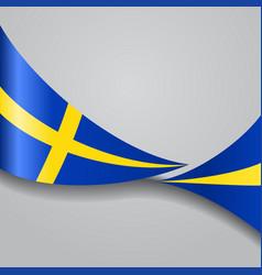 Swedish wavy flag vector