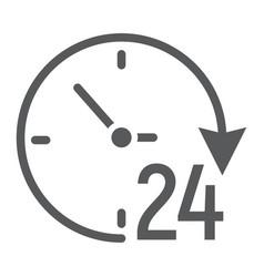 twenty four hour glyph icon e commerce vector image