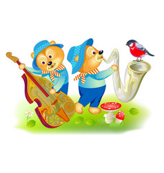 Two cute little bears playing musical instruments vector