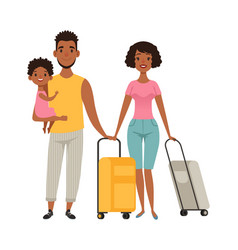 vacation people with suitcases family goes on vector image