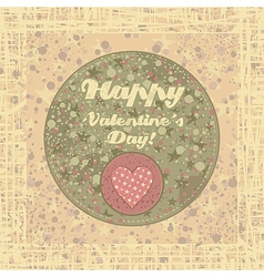 Valentines Day badge on abstract background vector image