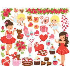 valentines day clipart set vector image