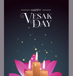 vesak day card candles and pink lotus flower vector image