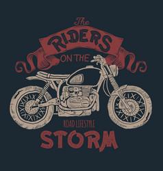 Vintage motorcycle hand drawn t-shirt print vector