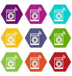washing machine icons set 9 vector image