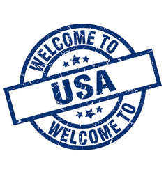 Welcome to usa blue stamp vector