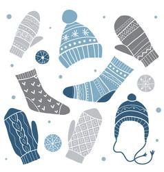 winter clothes set vector image
