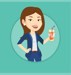 woman drinking cocktail vector image