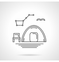 Camping at night flat line icon vector image