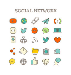 different social networking thin line color icons vector image vector image