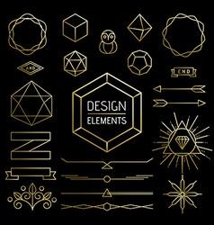 Element set gold hipster outline lettering label vector image