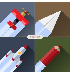 Flat design concept with rocket image of new vector image vector image