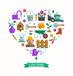 i love spring card vector image