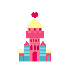 princess castle with heart cartoon vector image vector image