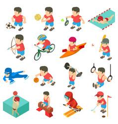 sport icons set isometric style vector image