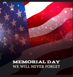 text memorial day on american flag background vector image