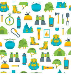 cartoon traveling camping and hiking background vector image vector image