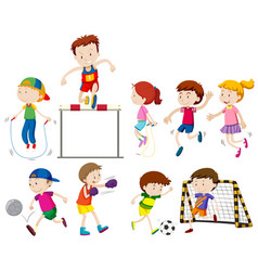 children doing different kinds of sports vector image