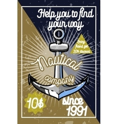Color vintage nautical poster vector image vector image