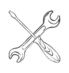 hand draw screwdriver with wrench vector image