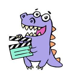 Happy purple dragon with movie clapper board vector
