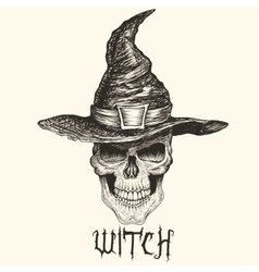 Head of witch with hat vector image