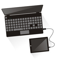 Laptop connected to tablet top view vector