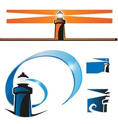 lighthouse symbol set vector image vector image