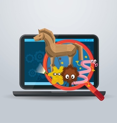 Magnifying glass found virus in laptop computer vector