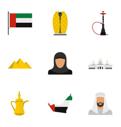 United arab emirates icons set flat style vector