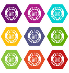 candies sweet shop icons set 9 vector image vector image