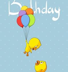 Cute chicks congratulate birthday vector image