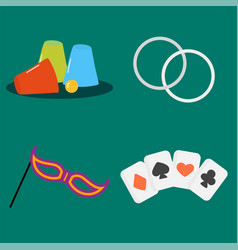 magician tools poker cards art style gambler vector image vector image