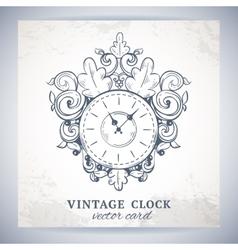 Old vintage wall clock postcard vector image