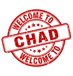 Welcome to chad red round vintage stamp vector
