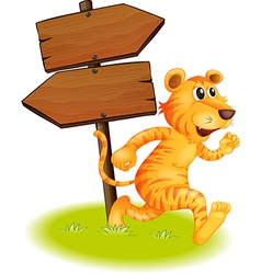 A tiger running and the empty signboards vector image vector image