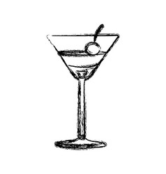 blurred silhouette martini drink cocktail glass vector image vector image