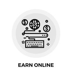 Earn Online Line Icon vector image vector image